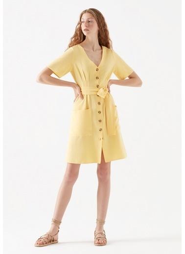 Mavi Kadın  V Yaka Elbise 130871-31099 Sarı